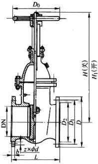 Z44T/W/H 型铸铁平行式双闸板手动闸阀PN10~PN16外形尺寸图