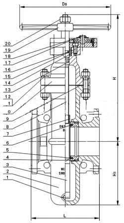 Z47WF型(无泄漏燃气平板闸阀)PN16~PN64外形尺寸图